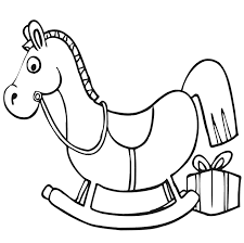 Christmas Coloring Page Rocking Horse