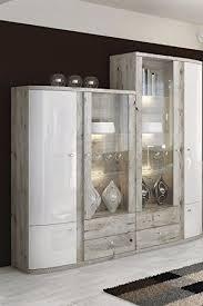 wohnwand schrankwand wohnzimmer möbel fabio weiß eiche wellington led soft vitrine hochschrank