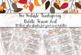 Printable Halloween Scavenger Hunt Clues by Free Printable Thanksgiving Riddle Treasure Hunt 18 Mix And Match