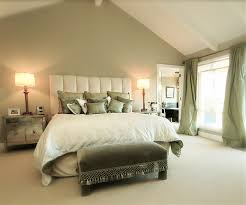 Exterior Design Traditional Bedroom Design With Tufted Bed And by Sage Green Accent Wall Behind The All White Bed With Green