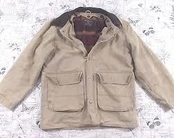 Woolrich Mens Barn Coat Field Jacket Khaki Blanket Lining Leather