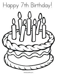 coloring pages birthday cake with 7 candles coloring page free coloring pages birthday cake