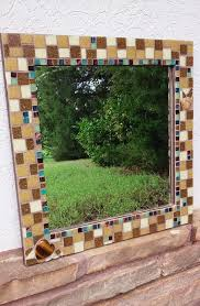 12x12 Mirror Tiles Beveled by Mosaic Mirror With Copper And Black Glass Tiles Green Leaves