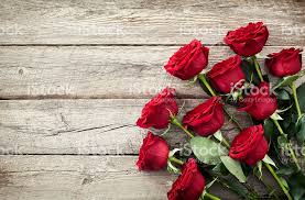 Valentines Day Red Roses Bouquet On Old Rustic Wood Background Royalty Free Stock Photo