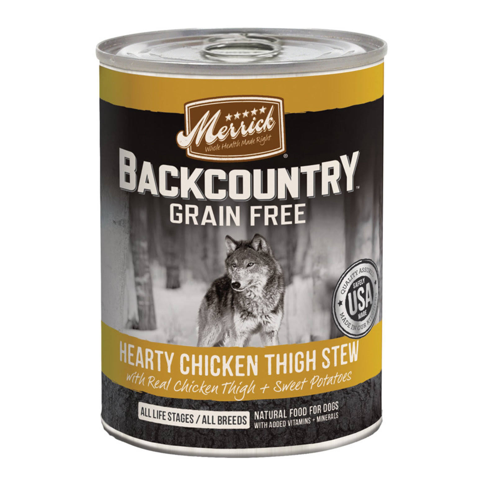 Merrick Backcountry Grain Canned Dog Food - Hearty Chicken Thigh Stew, 12.7oz