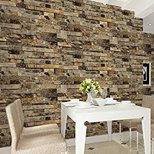 HaokHome 91302 Modern Faux Brick Stone Textured Wallpaper Unprepasted Yellow Multi Blocks Home Room Decoration