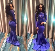 2017 new arrival purple mermaid sheer long sleeve evening dresses