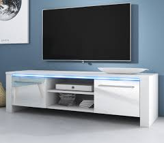 tv lowboard harlem in weiß hochglanz mit led beleuchtung 140 x 40 cm
