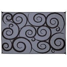 Polypropylene Patio Mat 9 X 12 by Direcsource Ltd Reversible Patio Mat 9 U0027 X 12 U0027 Black Gray Swirl