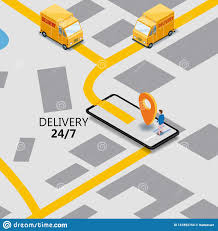 100 Gps Truck Route Isometry Express Cargo Delivery Navigation Map Of The