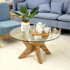 100 Living Room Table Modern Mcombo MidCentury Glass Round Coffee For 32 Inch Wood Frame 6090TREECT