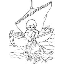 Child Catching Fish Coloring Page