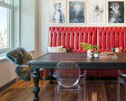 Wood Dining Table With Red Banquette