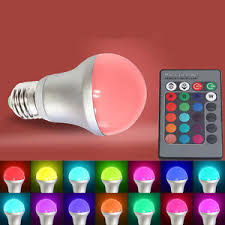 new e27 5w rgb multi color changing led light bulb remote