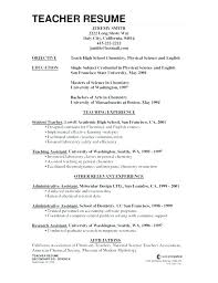 Sample Resume Teaching For Teachers High School Science Teacher Samples Of Resumes With Assistant Experience Preschool