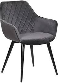 woltu esszimmerstühle bh153dgr 1 1x küchenstuhl wohnzimmerstuhl polsterstuhl mit armlehen design stuhl samt metall dunkelgrau