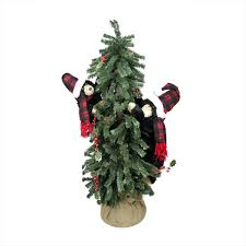 4 Country Rustic Artificial Alpine Christmas Tree In Burlap Sack With Black Bears