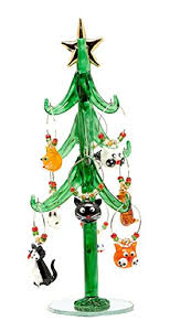 Glass Christmas Tree With Cat Wine Charm Ornaments 9 By LSArts