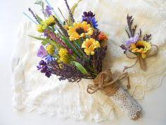 Silk Wildflower Bridal Bouquet Bridesmaid Flowers Lavender Yellow Pink Blue White Daisy Sunflower Burlap Lace Rustic Boho Country Wedding