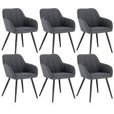 woltu 6 x esszimmerstühle 6er set esszimmerstuhl küchenstuhl polsterstuhl design stuhl mit armlehne mit sitzfläche aus samtmöbel