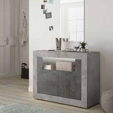 wohnzimmer kommode in beton grau und dunkelgrau offenem fach