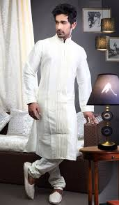 Off White Art Dupion Designer Party Wear Indian Mens Kurta