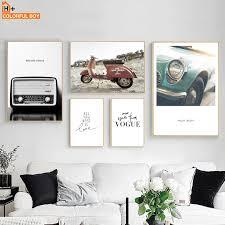 colorfulboy fahrzeug radio motorrad vintage poster und drucke wand kunst gemälde leinwand bilder für wohnzimmer dekoration