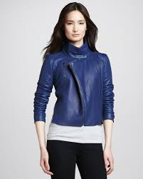 j brand connix cropped leather jacket in blue lyst