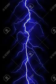 Blue Lightning Bolt Over Black Sky Stock Photo Picture And Royalty