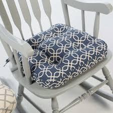 Navy Blue Modern Geometric Print Rocking Chair Seat Cushion Pad With Ties