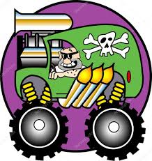 Man Driving A Big Green Monster Truck With A Skull — Stock Vector ...