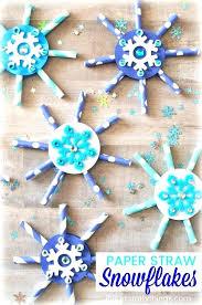 Easy Snowflake Crafts For Kindergarten Paper Straw Craft Preschool Cutting Practice R Kids To Make Some