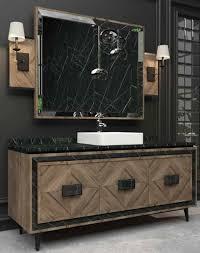 casa padrino luxus badezimmer set braun schwarz weiß 1 waschtisch mit 3 türen und 1 waschbecken und 1 wandspiegel luxus badezimmermöbel