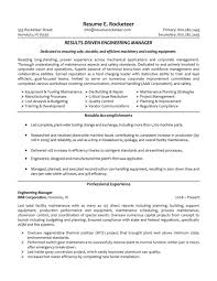 Engineering Manager Resume Objective Examples Krida Info Manufacturing
