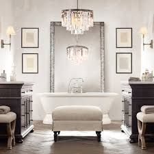 amazing bathroom chandelier above the bathroom mirror vanity