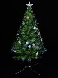 Fibre Optic Christmas Trees Uk by Led Bauble U0026 Star Rotating Fibre Optic Tree 1 2m Christmas