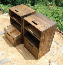 Wooden Crates Nightstands Side Tables Drawer Reclaim Wood Set Of Two