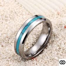 Tungsten Turquoise Wedding Band Tungsten by NeverFadeAccessories