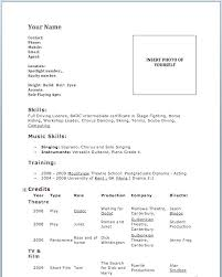 Sample Acting Resume No Experience Template