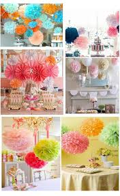 615cmRose DIY Party Decorations Tissue Paper Fuchsia Pompom Flowers Balls