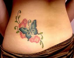 Tattoo Lower Back Butterfly With Flowers