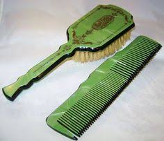 Celluloid Vanity Dresser Set by Vintage 60 U0027s Green Vanity Dresser Set Hand Mirror Brush Comb By