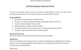 Delivery Driver Job Description Resume Sample For Formalbeauteous Best Examples