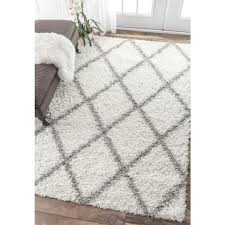 nuLOOM Shanna Shag White 7 ft 10 in x 10 ft Area Rug