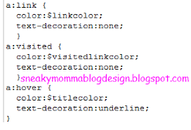 sneaky momma blog design link customization hover underline