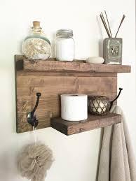 Rustic Bathroom Towel Rack Shelf Farmhouse Decor With Hooks