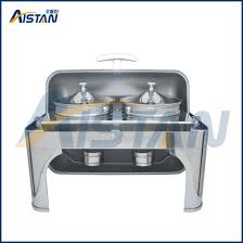 Zc202 Commercial Stainless Steel Electric Chafing Dish Soup Station With Round Lid For Kitchen Appliance