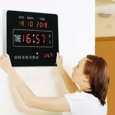 details zu digitaltuhr led digital wanduhr mit datum temperatur kalender für wohnzimmer