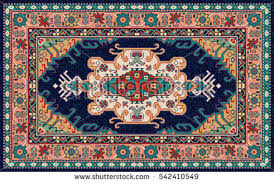Colorful Oriental Mosaic Rug With Traditional Folk Geometric Pattern Carpet Border Frame Vector