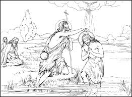 Jesus Baptized By John The Baptist Coloring Page For Baptism At Being